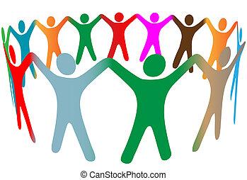 人々, 多数, シンボル, の上, 色, 多様, 手, リング, 把握, 混ざり合いなさい