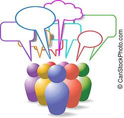 人々, 媒体, シンボル, スピーチ, 社会, 泡