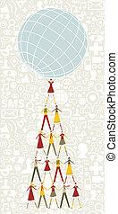 人々, 媒体, 木, 保有物, 社会, 世界, クリスマス