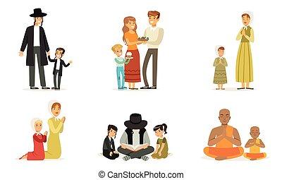 人々, 宗教, 幸せ, 宗教, コレクション, 読書, 祈ること, 家族, 別, イラスト, 衣服, ベクトル, 伝統的である, 本