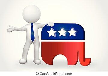 人々, 小さい, -, 象, アメリカ, 3d, シンボル