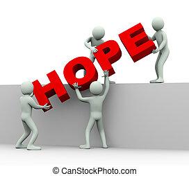 人々, -, 希望, 3d, 概念