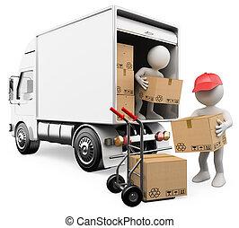 人々。, 箱, トラック, 白, 労働者, 荷を下すこと, 3d