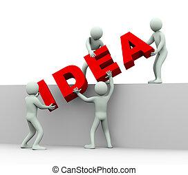 人々, -, 考え, 3d, 概念