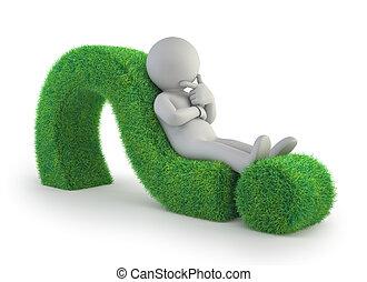 人々, 質問, -, 印, 緑, 小さい, あること, 3d