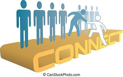 人々, 連結しなさい, 参加しなさい, の上, グループ, 手, 助け
