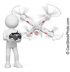 人々。, 飛行, 無人機, カメラ, 白, 人, 3d