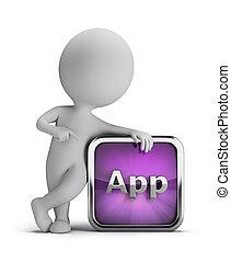 人々, app, -, 小さい, アイコン, 3d
