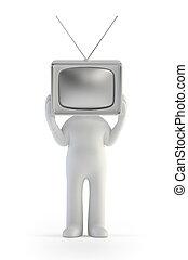 人々, tv, -, 小さい男, 3d