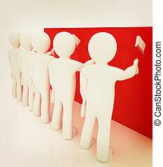 人を配置する, illustration., 壁, 型, ペンキ ブラシ, 絵, style., 3d
