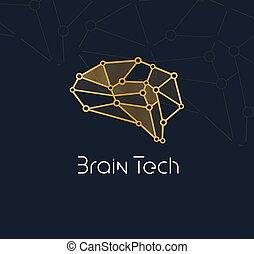 人工, ベクトル, ネットワーク, technology., コミュニケーション, 知性, アイコン, 新しい, 抽象的, 技術, ロゴ, 概念, ai, ニューロン, 革新, logotype, 脳, bio, tech.