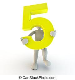 人間の人々, 特徴, 数, 黄色, 保有物, 小さい, 5, 3d
