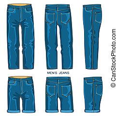 人, ズボン, ジーンズ, ショートパンツ
