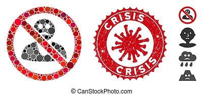 人, 傷付けられる, コラージュ, いいえ, coronavirus, 悲しい, 危機, シール, アイコン