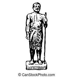 人, 型, エジプト人, 彫版, 古代