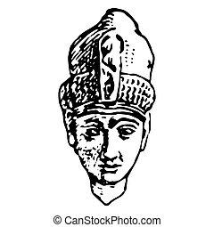 人, 型, エジプト人, 肖像画, 古代, 彫版