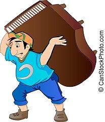 人, 持ち上がること, イラスト, ピアノ