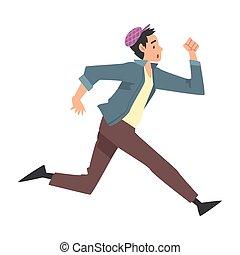人, 服を着せられる, 若い, ふだん着, イラスト, 動くこと, 漫画, スタイル, ベクトル