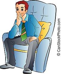 人, 椅子, 柔らかい, イラスト, モデル