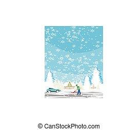人, 雪の景色, 冬, シャベルで掘ること