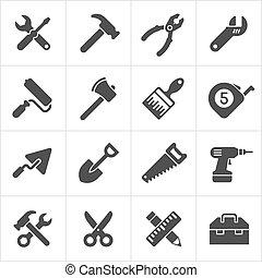 仕事, アイコン, 道具, 道具, ベクトル, white.