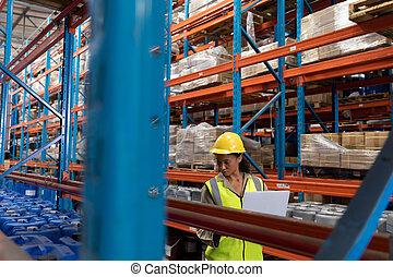 仕事, 女性, 労働者, 倉庫