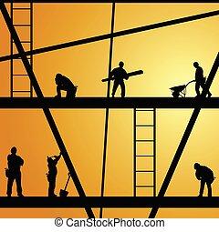 仕事, 建設, ベクトル, 労働者, イラスト