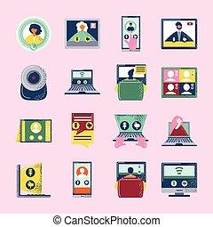 仕事, 技術アイコン, デジタルのビデオ, ミーティング, セミナー, 会議