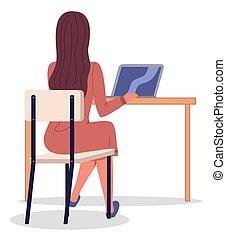 仕事, 椅子, テーブル, 女, イメージ, モデル, 平ら, ビジネス, workflow., プロジェクト, laptop.