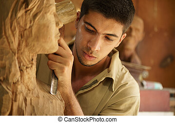 仕事, 芸術家, 若い, 職人, 彫刻, 彫刻家, 彫刻