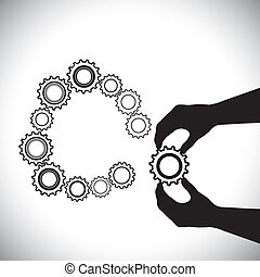 他, 手, hand(person), これ, ∥含んでいる∥, 加えられた, ある, 人, completion-vector, team(group), 参加しなさい, 助力, はめば歯車, graphic., 円, はめば歯車, イラスト