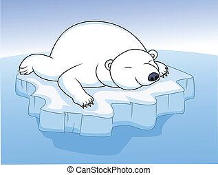 休む, シロクマ, 氷
