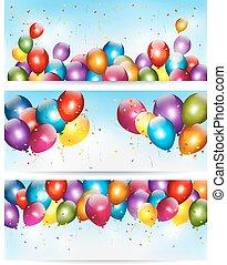 休日, カラフルである, 3, vector., 旗, balloons.