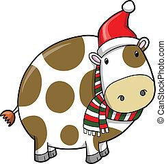 休日, クリスマス, ベクトル, 牛