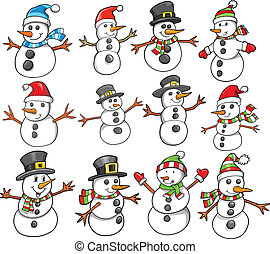 休日, クリスマス, 雪だるま, 冬