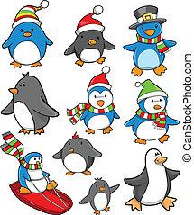 休日, セット, クリスマス, ペンギン
