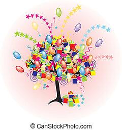 休日, パーティー, baloons, でき事, 漫画, 木, 幸せ, giftes, 箱