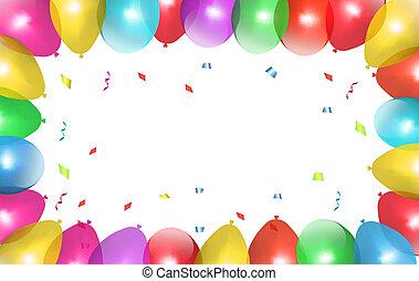 休日, フレーム, balloons., vector., カラフルである