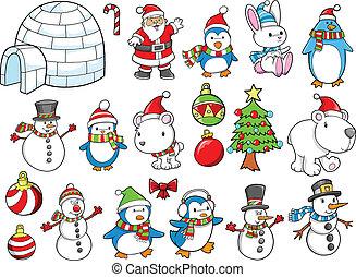 休日, ベクトル, セット, クリスマス, 冬