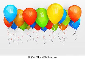 休日, ベクトル, balloons., イラスト
