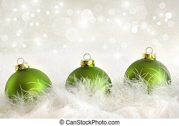 休日, ボール, 緑, クリスマス, 背景