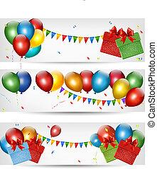 休日, 旗, balloons., vector., カラフルである