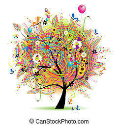 休日, 面白い, 幸せ, 木, baloons