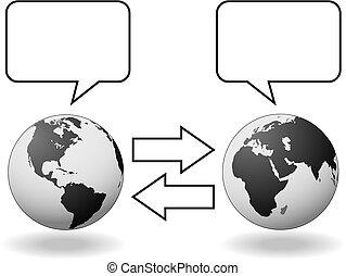 会う, 西, 半球, コミュニケーション, 翻訳, 東