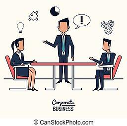 会議, カラフルである, ビジネス, 部屋, ポスター, 背景, 企業の経営者