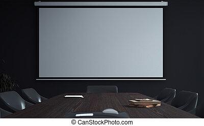 会議, キャンバス, プロジェクター, room., スクリーン, 現代, rendering., 3d