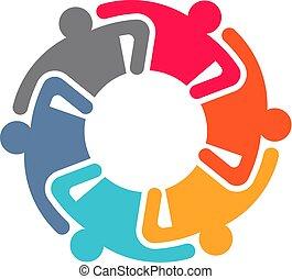 会議, パートナー, ビジネス 人々, 6, circle.
