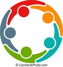 会議, ビジネス, 5人の人々, circle., 企業家