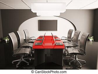 会議, ラップトップ, lcd, 部屋, 3d