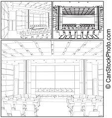 会議, 内部, ホール